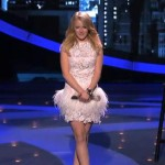 Hollie Cavanagh performs on American Idol wearing Jovani