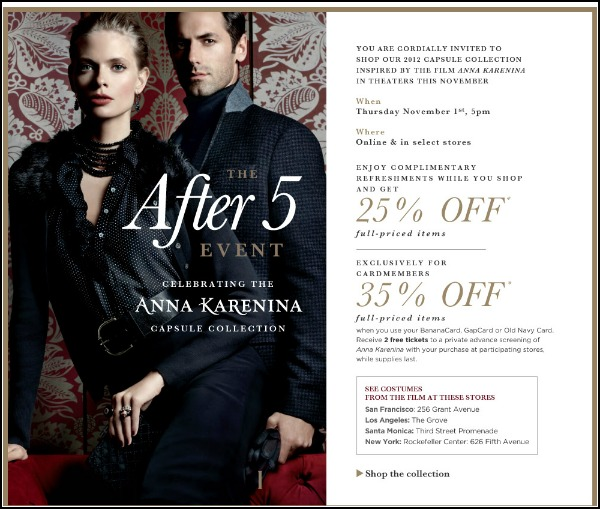 Banana Republic invites you to the launch of the Anna Karenina holiday collection