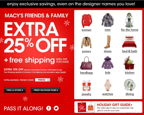 Macy's Friends and Family Sale 2012: 25% holiday savings
