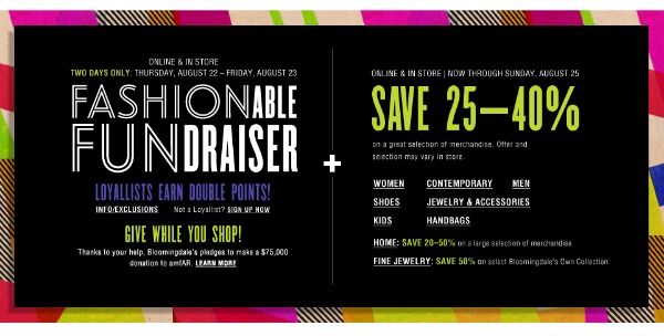 Bloomingdale's Fashionable Fundraiser 2013: Aug 22-23