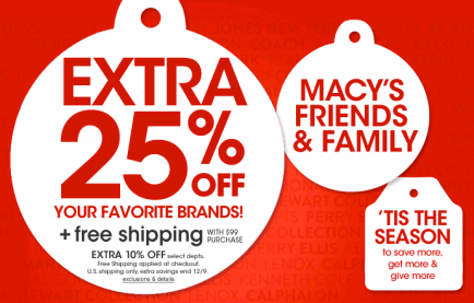 Macy's Friends and Family sale 2013: Save 25% from Nov 3 – 9