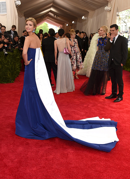 Ivanka Trump looked regal in this royal blue Prabal Gurung gown with a cascading white train and Cindy Chao jewelry.