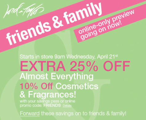 LORD AND TAYLOR COUPONS FRIENDS AND FAMILY