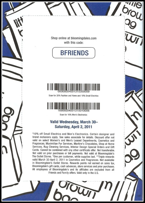 Bloomingdale's Friends & Family sale starts March 30th, 2011