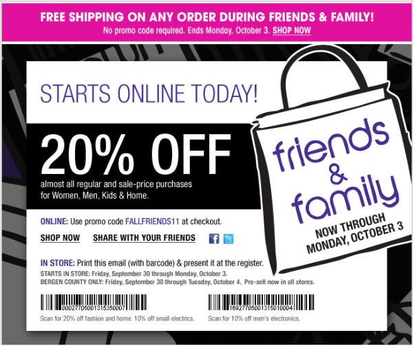 Bloomingdale's Friends and Family Sale starts September 30th, 2011