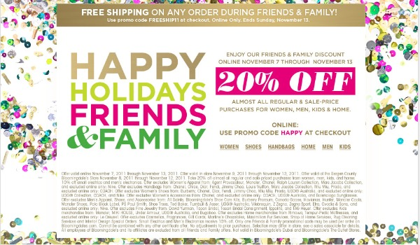 Bloomingdale's Holiday Friends & Family Sale 11/8 – 11/13