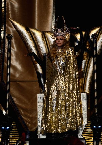 Madonna performs at the Superbowl wearing Givenchy with Bulgari jewels
