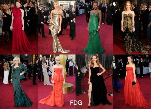 Academy Awards red carpet fashion
