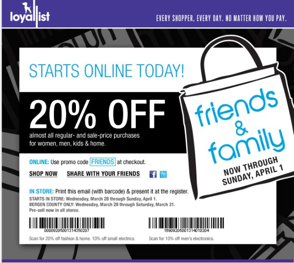 Bloomingdale's Friends and Family sale (March 26th – April 1st)