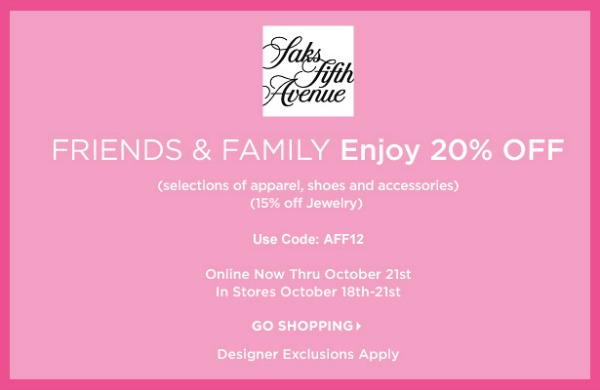 Shop Saks Fifth Avenue Friends and Family sale 2012: Enjoy 20% off