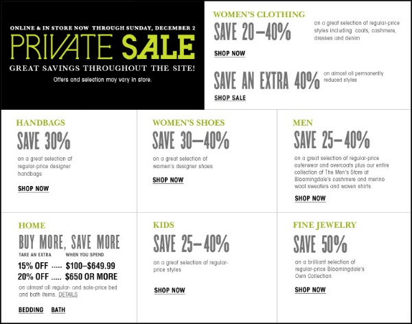 Bloomingdale's Private Sale 2012: 20% savings and $25 off every $100