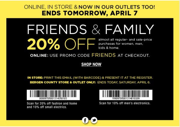 Bloomingdale's Friends and Family Sale March 2013: 20% savings |