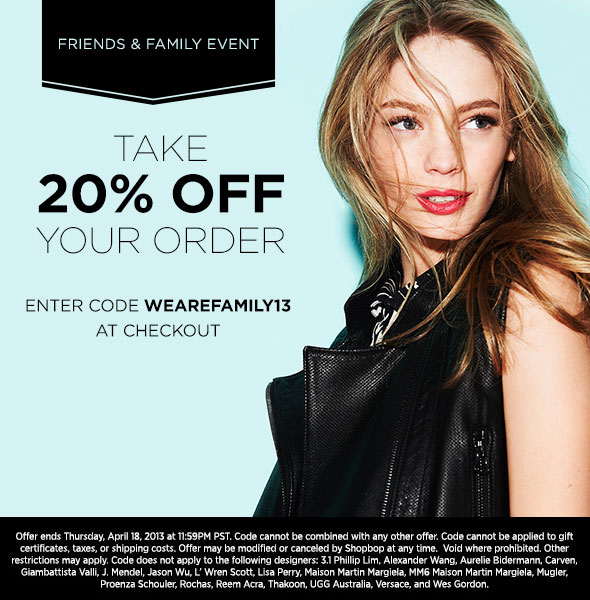 Shopbop's Friends and Family Sale 2013 has launched: Save 20% with code