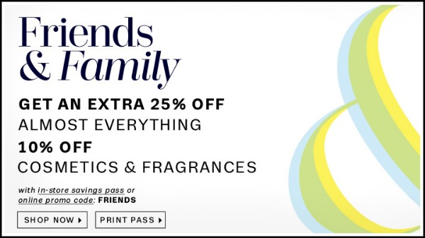 Lord and Taylor Friends and Family Sale June 2013: Save 25%