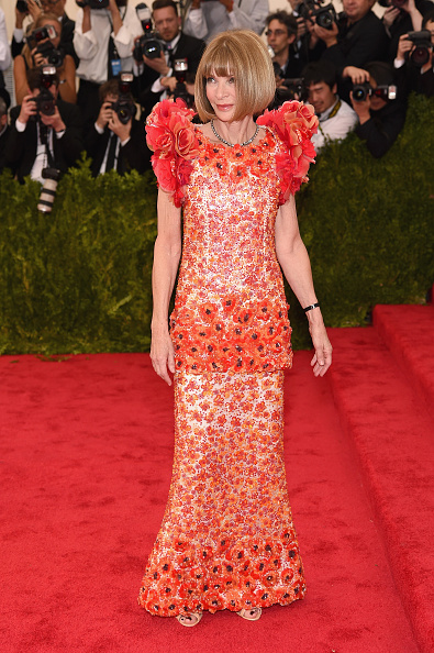 Event Chair Anna Wintour chose a custom gown from the Chanel Spring 2015 haute couture collection.