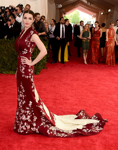 Bee Shaffer in an Asian-inspired Alexander McQueen gown accented with cherry blossoms.