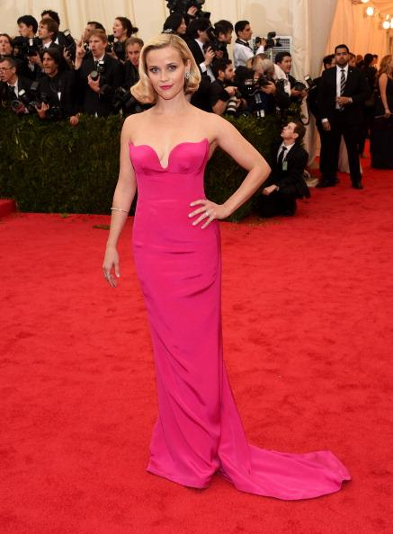 Reese Witherspoon chose a bold pink strapless gown by Stella McCartney.