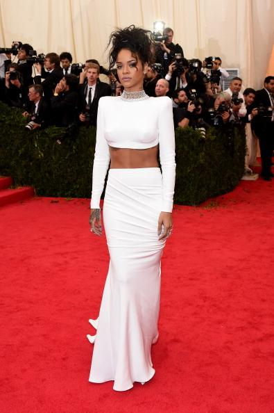 Rihanna is white haute in this two-piece ensemble by Stella McCartney and Jacob & Co. necklace